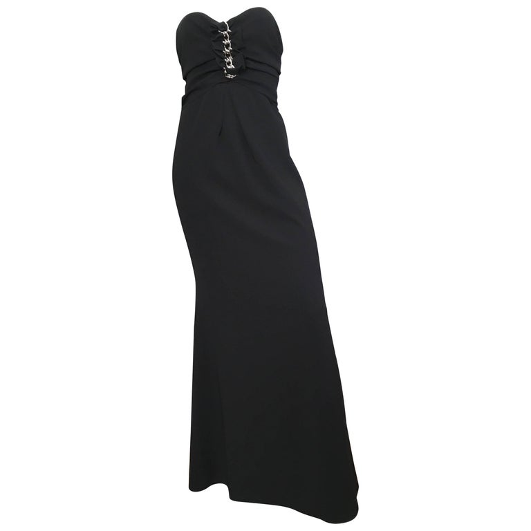 Moschino Black Strapless Gown Size 6. For Sale at 1stdibs