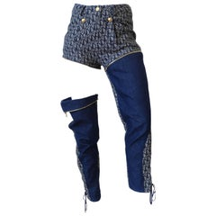 Christian Dior John Galliano Monogram Denim Zip-off Convertible Pants, 2000