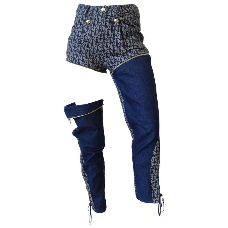 2000 Christian Dior John Galliano Monogram Denim Zip-off Convertible Pants