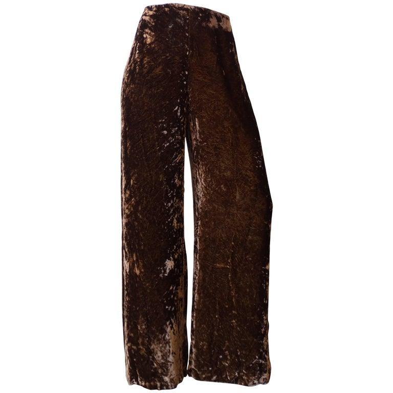 Gianfranco Ferre Crushed Brown Velvet Pants