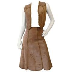1960s Tan Suede Embroidered Vest & Skirt Set