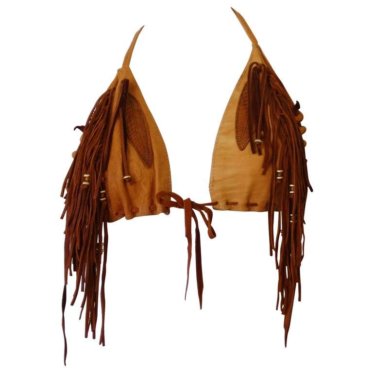 Western Fringe Leather and Tan Suede Bikini Top