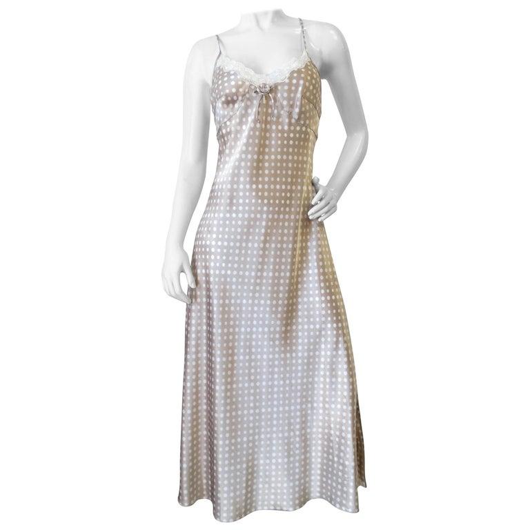Christian Dior Taupe Polkadot Satin Slip Dress