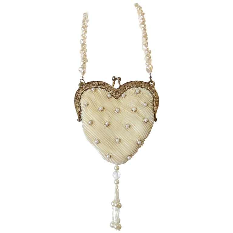 1980s Freshwater Pearl Heart Shaped Bag at 1stdibs