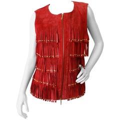 1990s Zip Up Red Suede Studded Fringe Vest