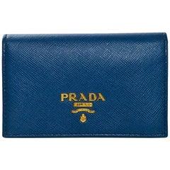 Prada Blue Saffiano Leather Card Holder