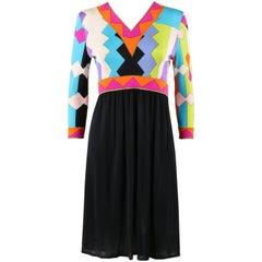 Emilio Pucci Blue Multicolor Geometric Signature Print Silk Shift Dress, 1960s
