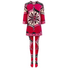 Emilio Pucci 2 Piece Floral Signature Print Velvet Tunic Dress Tights Set, c1969