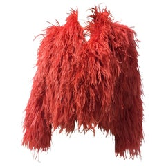 1980s Adrianne Landau Coral Red Ostrich Feather Chubby
