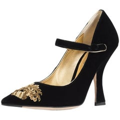 Dolce & Gabbana NEW Runway Black Gold Velvet Evening Mary Jane Heels