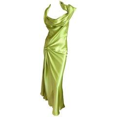 Christian Dior by John Galliano Bias Cut Green Silk Satin Dress with Knot Motif