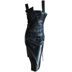 Christian Dior John Galliano Goth Black Asymmetrical Leather Dress Spring 2000