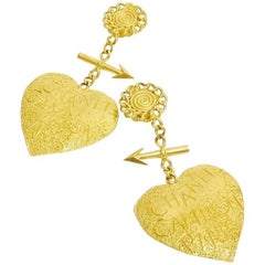Chanel Vintage Heart and Arrow Motif Big Dangle Earrings