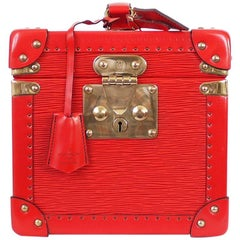 Louis Vuitton Boite Flacons Beauty Trunk Train Case Red Epi