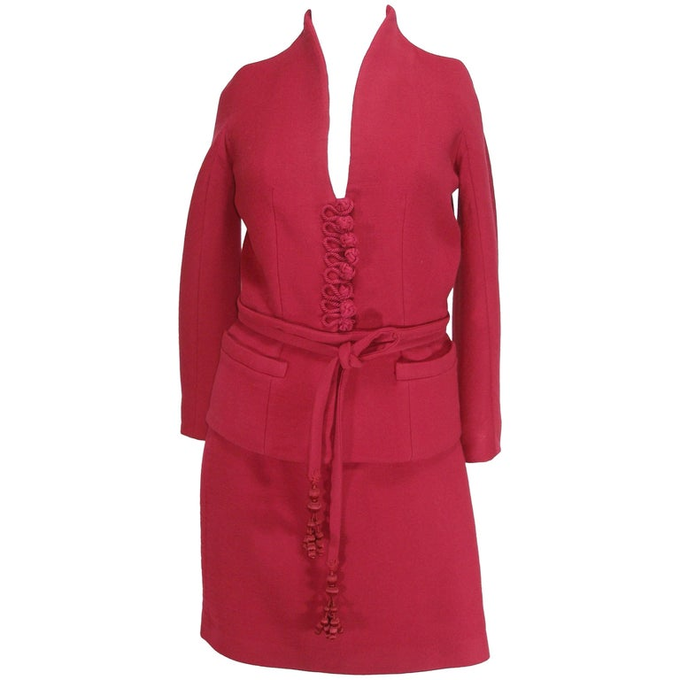 John Galliano For Christian Dior Runway Wool Framboise Suit Skirt FR38, 2009   For Sale