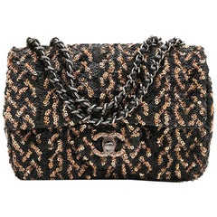CHANEL Mini Evening Flap Bag in Black Leather Embroidered with Sequins