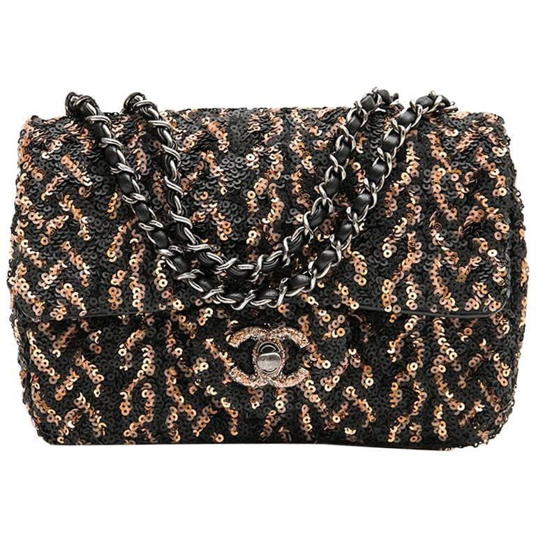 CHANEL Mini Evening Flap Bag in Black Leather Embroidered with Sequins For Sale