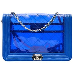 CHANEL 'Boy' Transparent Blue Electric Edged with Leather Mini Bag