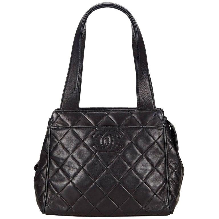 Chanel Black Matelasse Lambskin Leather Handbag