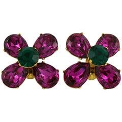 Yves Saint Laurent YSL Vintage Jewelled Flower Clip-On Earrings