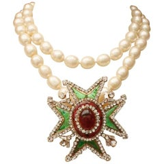 Chanel pearly beads necklace with glass paste and rhinestones Maltese cross
