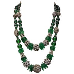 1950s Chanel exceptional glass paste beads and rhinestones two-strand necklace