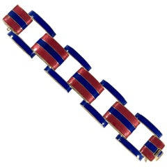 Ciner Enamel Bracelet Red and Blue from the 1960s