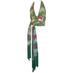 Celine palm print wrap fringe halter top