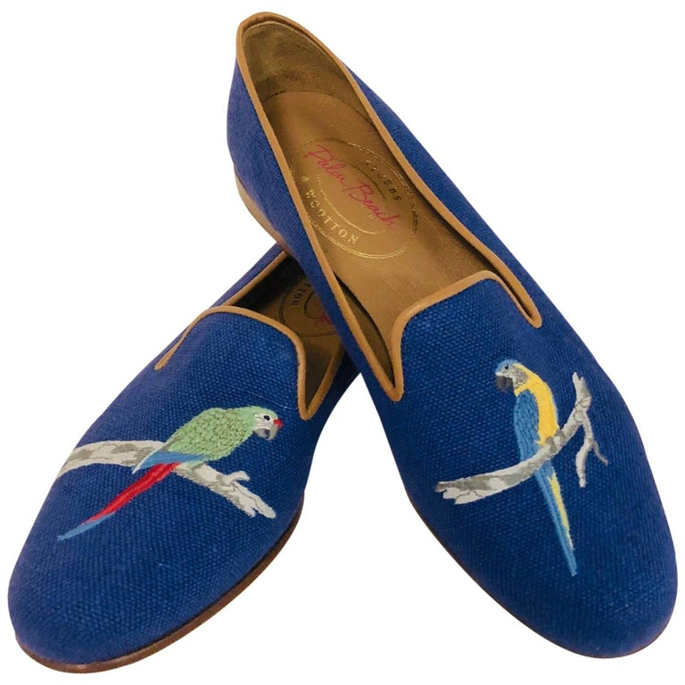 Sublime Stubbs & Wootton Royal Blue Needlepoint Parrot Slippers