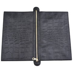 Black and Washed Grey Custom Leather Flip Clutch