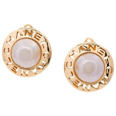Chanel Gold 'CHANEL' Pearl Center Stud Evening Statement Earrings in Box