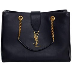 Saint Laurent Navy Smooth Leather Monogram Cassandre Shopper Tote Bag