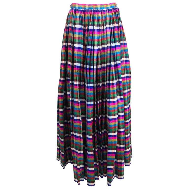 Lanvin raw silk open pleated plaid maxi skirt 1970s