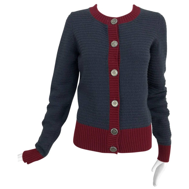 Chanel grey and wine cashmere cardigan sweater For Sale