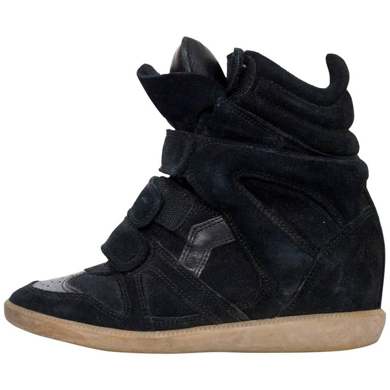 Isabel Marant Black Beckett Suede Wedge Sneakers Sz 36 For Sale