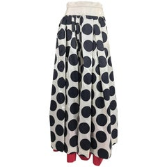 Valentino black dot applique white silk evening skirt red hem 1990s
