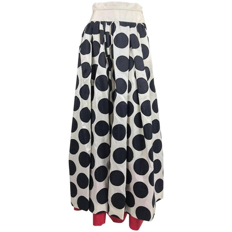 Valentino black dot applique white silk evening skirt red hem 1990s