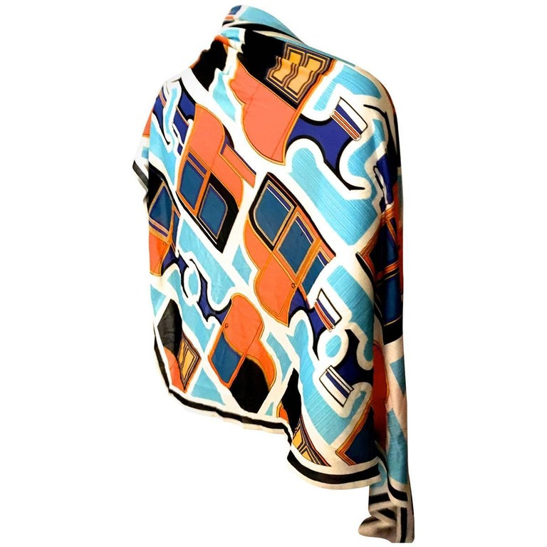 Rare Hermes Scarf - Large Size - Triangle - Silk Jersey