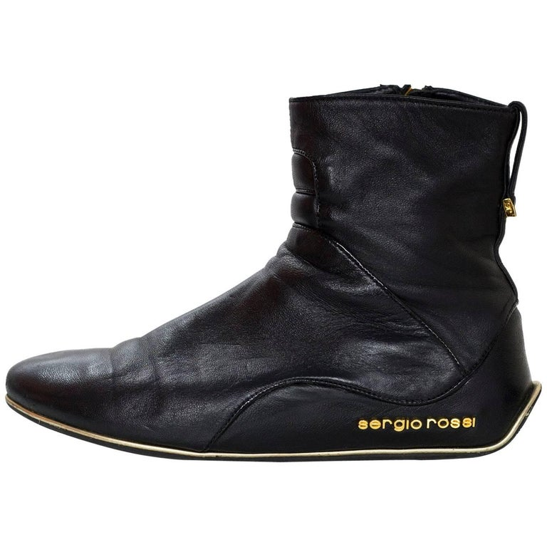 Sergio Rossi Black Leather Ankle Boots Sz 35