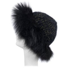 Lillie Rubin black fox fur and metallic knit hat 1970s
