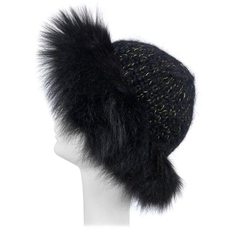 Lillie Rubin black fox fur and metallic knit hat 1970s