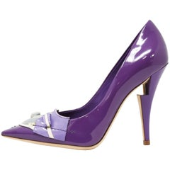 Louis Vuitton After Dark Riviera Violet Patent Leather Pumps, Size 37