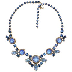 1950s Elsa Schiaparelli Irridescent Blue Art Glass & Rhinestone Necklace