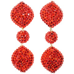 1980s Richard Kerr Scarlet Red Rhinestone Drop Earrings