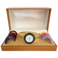 1980s Gucci Bangle Watch & Bezel Set