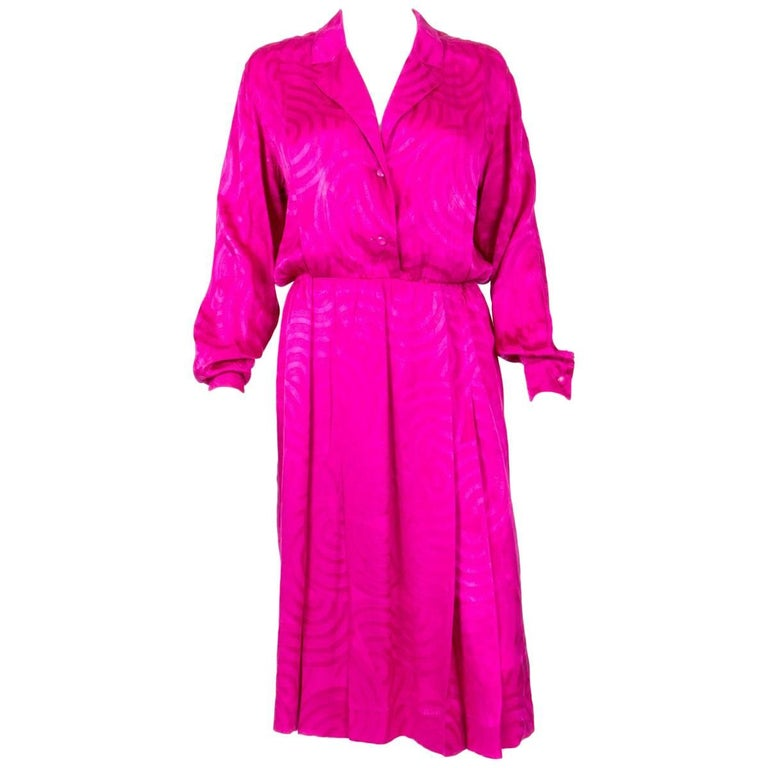 1985s Christian Dior Pink Silk Dress