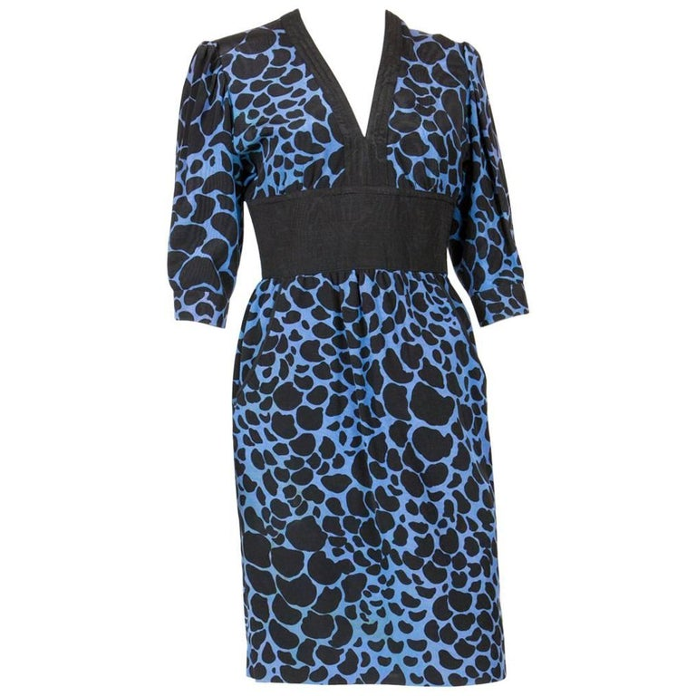 Balenciaga Blue Silk Dress, 1980s