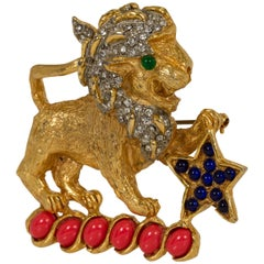 Iconic 1960's Kenneth Jay Lane Gold Coral Lion Pin