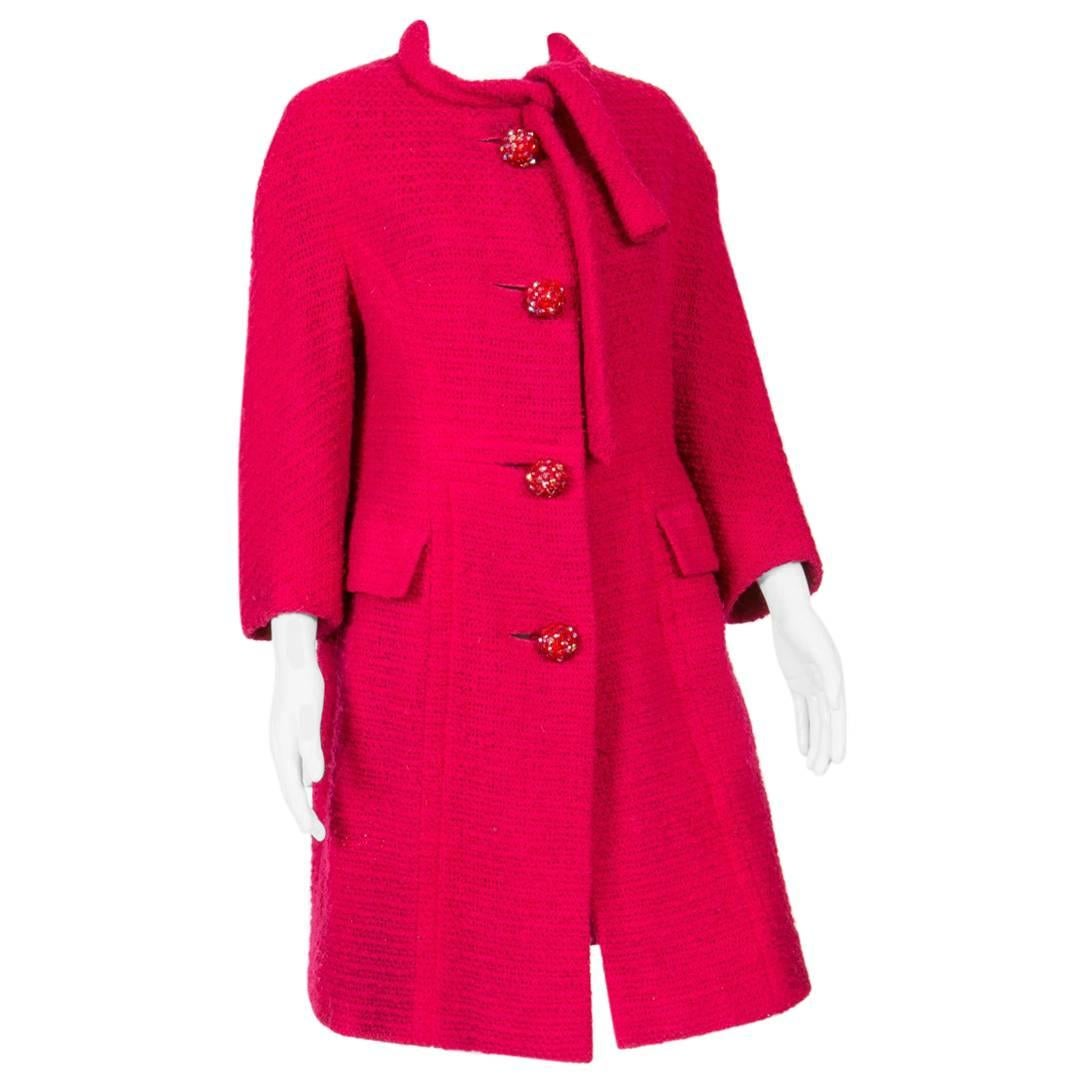 1960s Red Wool Marie Martine Coat