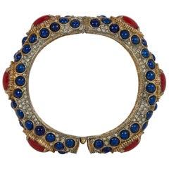Iconic 1960's Kenneth Jay Lane Cabochon Lapis and Red Stone Bangle Bracelet